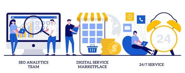 Set von seo-analytics-team, digitaler service-marktplatz, 24 7-service
