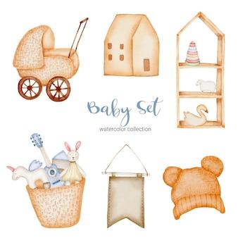 Set von separaten teilen und zusammenfügen zu schönen kleidern, babyartikeln und spielzeug im wasserfarbenstil, aquarellillustration