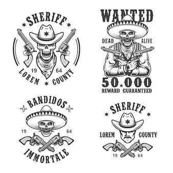 Set von sheriff- und banditenemblemen, etiketten, abzeichen, logos und maskottchen. monochromer stil.
