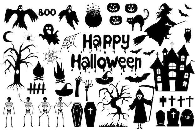 Set von silhouetten für halloween-party