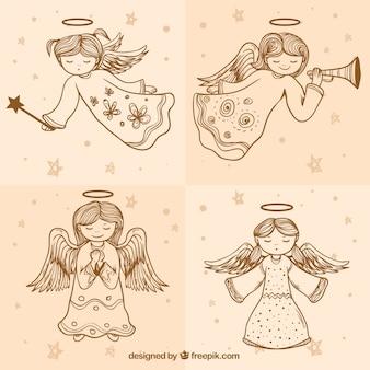 Set von skizzen niedlichen engel