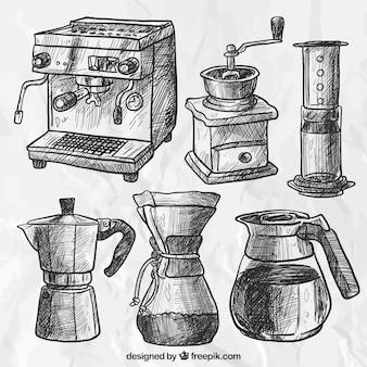 Set von skizzen von kaffeemaschinen