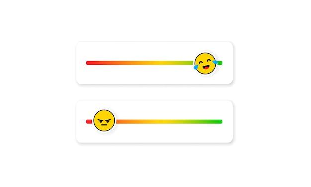 Set von slider-emojis für soziale medien. feedback-emoticon. bewertungen oder bewertungsskala mit emoji, die verschiedene emotionen darstellen. grad der zufriedenheitsbewertung. kundenübersicht.