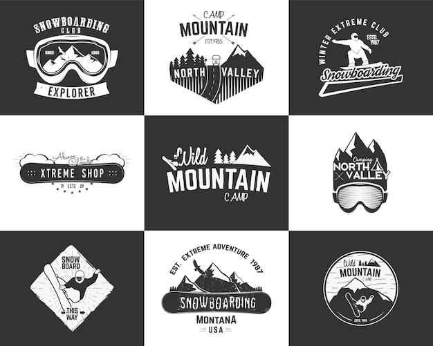 Set von snowboarding extreme logo- und etikettenvorlagen. winter-snowboard-sportgeschäft-abzeichen, embleme. bergabenteuer-abzeichen mit snowboarder-mann, wohnmobil-symbol. vektor-vintage-monochrom-stil.