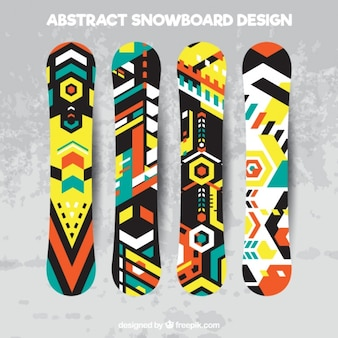 Set von snowboards in geometrischen stil