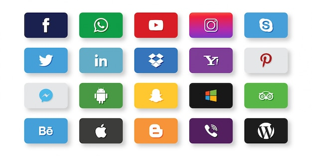 Set von social media icons