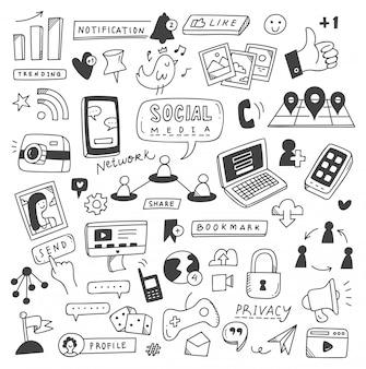 Set von social-media-kritzeleien