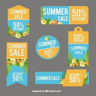 Set von sommer-angebote aufkleber