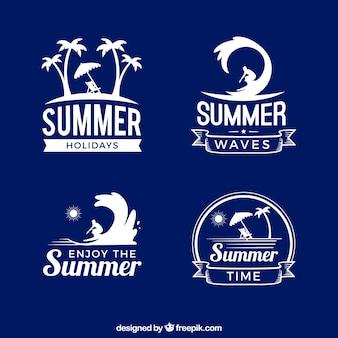 Set von sommer-aufkleber im retro-stil