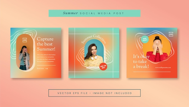 Set von sommer-gradientenposten für social media