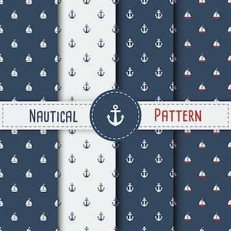 Set von sommer nahtlose muster mit segelboot. nautisch nahtlose muster mit yachten für hintergrund, invitetion, hintergrund, druck, textil-, verpackung, tapeten, web-hintergrund, abdeckung, banner, flyer.