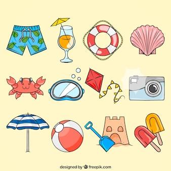 Set von sommerartikeln