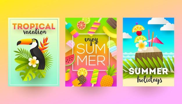 Set von sommerferien und tropischen urlaubsplakaten oder grußkarten