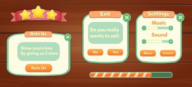 Set von spiel-assets-menüschaltflächen popup-bildschirme und einstellungsschaltflächen für den hintergrundbildschirm screen