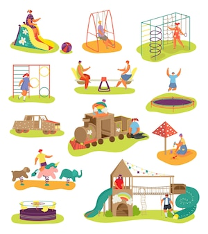 Set von spielplätzen mit kinderelementen