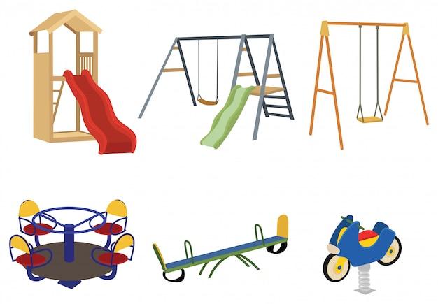 Set von spielplätzen. sammlung von spielgeräten für aktive spaziergänge von kindern.