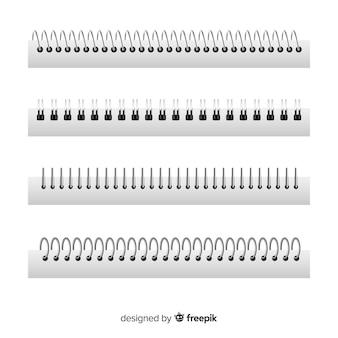 Set von spiralen für notebooks realistischen stil