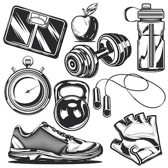 Set von sportelementen zum erstellen eigener abzeichen, logos, etiketten, poster usw.