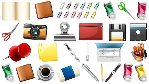 Set von stationären objekten