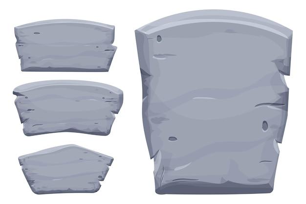 Set von steintafel-felsbannern mit gebrochenen elementen im cartoon-stil