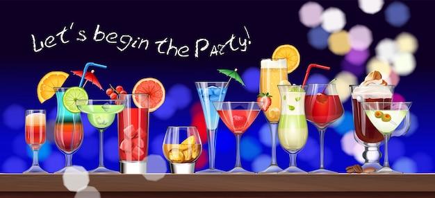 Set von stemware und gläser mit cocktail