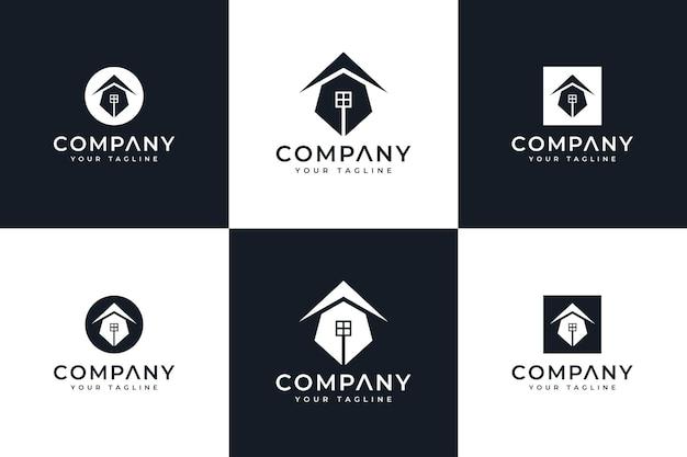 Set von stiftspitzen-home-logo kreatives design für alle anwendungen
