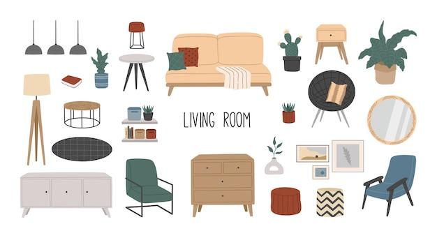 Set von stilvollen skandinavischen möbeln für wohnzimmer, hygge home interior.
