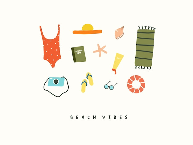Set von strand-sommerferienartikeln badeanzug, hut, strandmatte, fotokamera, buch und schiefer, rettungsring. sommerikonenvektorillustration in der flachen hand gezeichneten gekritzelart