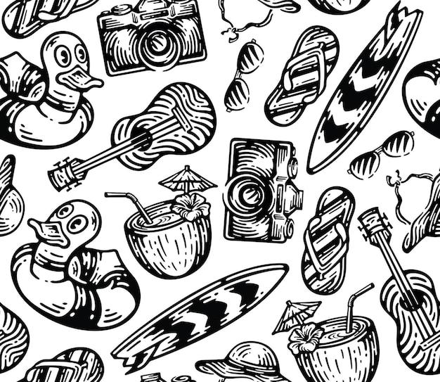 Set von strandausrüstungselementen im vintage-doodle-stil