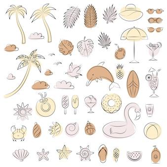 Set von strandsommerelementen abstraktes design umrissillustration