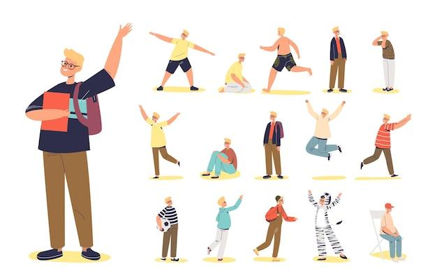 Set von süßen jungen, die eine brille tragen und bücher halten, lifestyle-ikonen von kleinen teenager-kind oder schuljungen-cartoon-figur. glückliches kind läuft, springt, sitzt und geht. flache vektorillustration