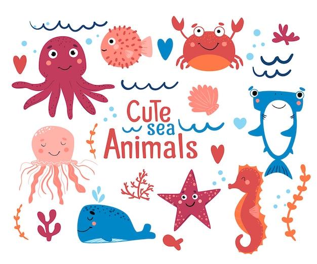 Set von süßen meerestieren krabbenhai walfischkugel seepferdchen tintenfisch quallen und seesterne
