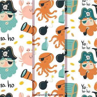 Set von süßen und lustigen piratenmustern