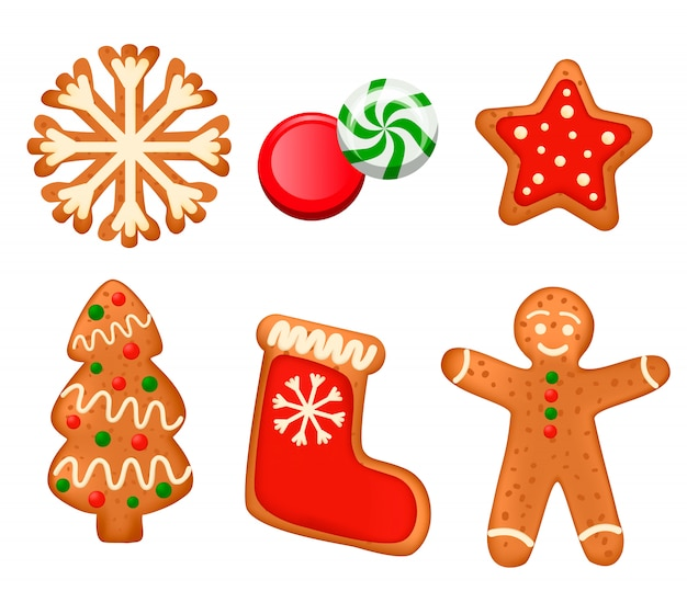 Set von süßigkeiten und kuchen; süßigkeiten und lutscher auf einem weißen hintergrund