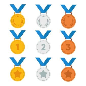 Set von symbolen für gold-, silber- und bronzemedaillen