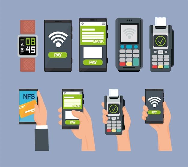 Set von symbolen für kontaktloses bezahlen