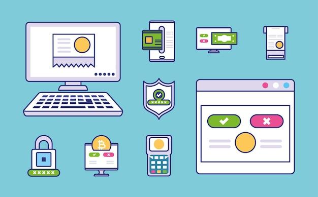 Set von symbolen für online-zahlungsarten