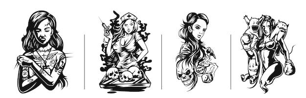 Set von t-shirt-design jugendstil-frauen-tattoo und t-shirt-design
