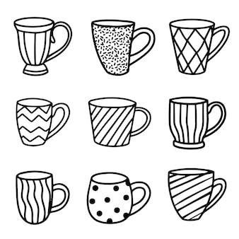 Set von tassen-vektor-illustration im doodle-stil