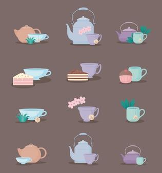 Set von teekannen und tassen tee