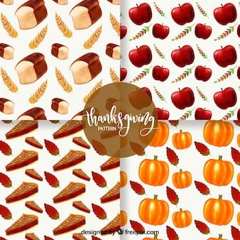 Set von thanksgiving-mustern mit leckerem essen