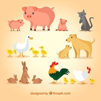 Set von tieren mit familien