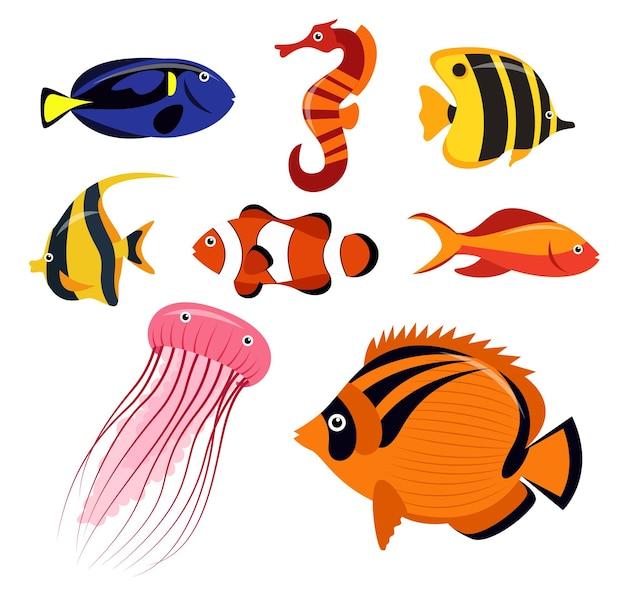 Set von tiergruppen von meeresbewohnern, fischen, quallen und clownfischen auf weiß