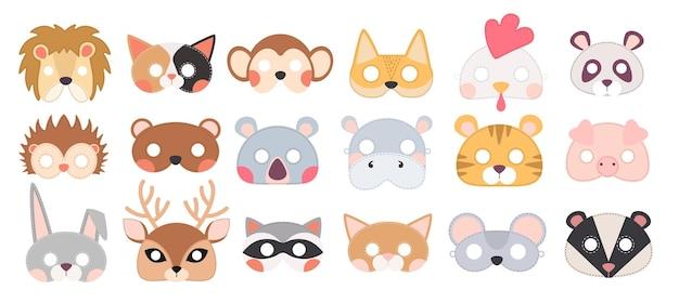Set von tiermasken, maskerade-dekor für kostümparty. stirnbänder, isolated on white background. gesichtsmasken für halloween oder weihnachtsfeiertage. sammlung von designelementen. cartoon-vektor-illustration