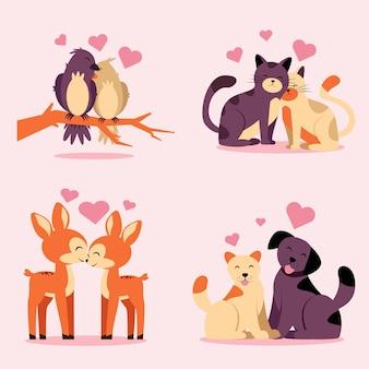 Set von tierpaaren verliebt in vögel auf dem ast, katzen, hunde und rehe auf rosa