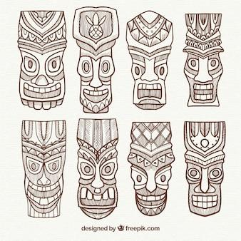 Set von tiki masken mit exotischen stil