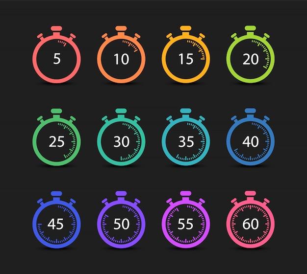 Set von timern und stoppuhren. 5,10,15,20,25,30,35,40,45,50,55,60 minuten.