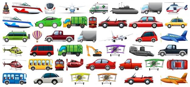 Set von transportfahrzeugen