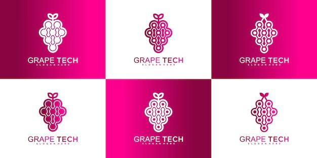 Set von trauben-tech-logo-design mit einzigartigem konzept, einfacher, moderner und cooler farbverlaufsfarbe premium-vektor