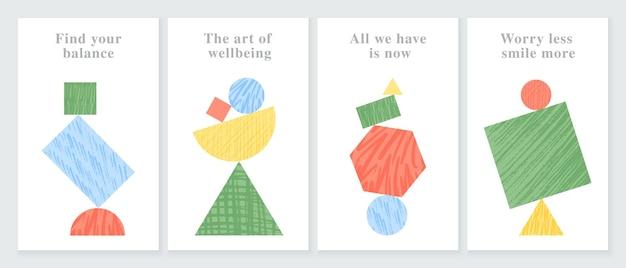 Set von trendigen farbpostern des vektors mit handgezeichneten texturen mit tintenstiftpinsel
